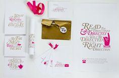 Jag Nagra is Page 84 Design #caslon #pink #invitations #gold #wonderland #typography