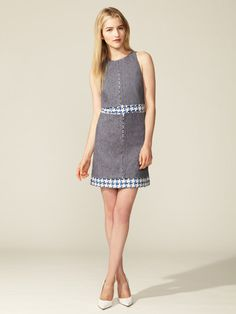 Denim Tweed Dress #fashion #denim #dress #tweed