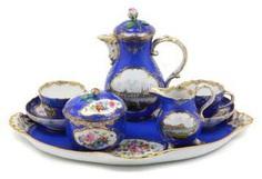 Meissen Dejeuner with Saxony-views 1850 #porcelain