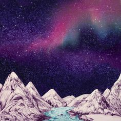 Life is a magic on the Behance Network #maps #mountains #stars #universe #ink illustration