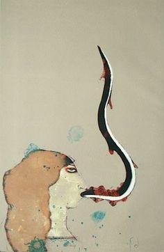 La Pêcheresse 1968 Paul Wunderlich #wunderlich #litograph #paul