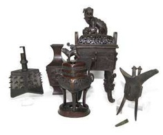 Five different bronzes: two incense burners, a Vase, Jue and bell