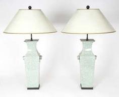 Pair Celadon Porcelain Table Lamps #porcelain