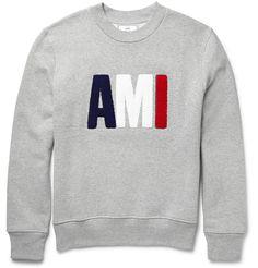AMI Felt-Appliquéd Fleece-Back Cotton-Jersey Sweatshirt