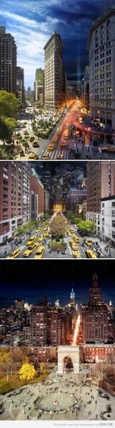 9GAG - NYC Goes From Day to Night in One Frame #night #photo #photography #day
