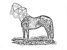Ed's Head, by Dan Bina #ink #horse #ny #bina #surrealism #drawing #dan #art #triangles #paper #brooklyn