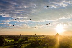 Hot air balloons at dawn, Bagan, Myanmar