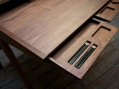 goffgough #wood #desk #pencils