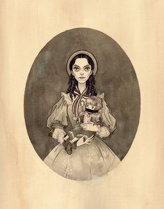 "Julian Callos Illustration (""Drusilla, 1860"" Acrylic and gouache on Rives BFK...)"