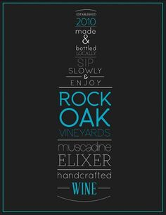 Rock Oak Vineyards wine label on the Behance Network #label #wine #typography