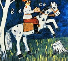 a-soldier-riding-a-horse.jpg 548×497 pixels #color #retro #illustration #painting #naive