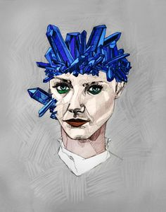 Crystallized - Katie Melrose #blue #face #crystals #portrait