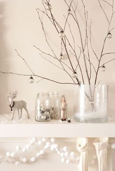 Allwhiteno07_candadianhousehome_rect540 #deer #white #holiday #birch #branches #winter