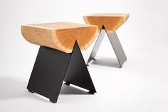 Fantastic combination of warm and cold or rustic and contemporary... #furniture #design #stool #wood