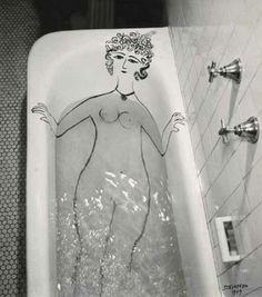 FFFFOUND! #blackwhite #water #girl #retro #photography #vintage #bathtub #drawing
