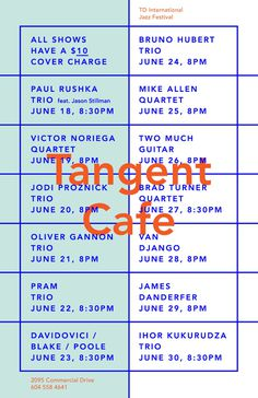Tangent Cafe jazz poster
