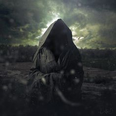 """Black Empire"" by Pierre-Alain D. #clouds #empire #black #landscape #monk #portrait #hood #dark"