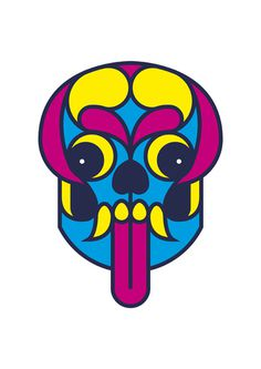 Urban tribal masks - Calavera by Adria Molins #design #animal #geometry #urban #face #barcelona #tongue #illustrator #fluorescent #masks #tr
