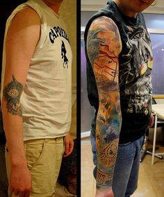 In this, the previous tattoo is based right in the middle of the arm, in the elbow section. Covering it up would require a bigger tattoo but