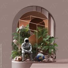 ... astronaut rocks plants trees frame ball globe green grey black petertarka c4d cinema4d 3d render set setdesign nasa palm space