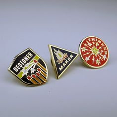 Designer, Maker, Thinker Pin Set #graphic #pins #accessories #design #product #inspiration #patches