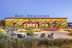BCV architects elongates green wall on bay meadows welcome center #intarsia