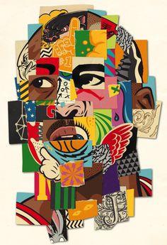 """23"" by Andy Gellenberg / WEAREKIDZ #Jordan #Collage #vector #illustration #color #sneaker #print #poster #nba #basketball #sports #panther"