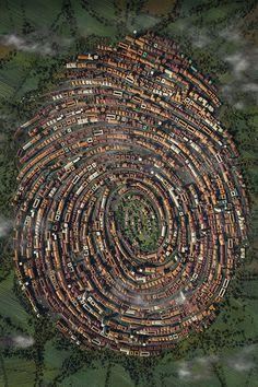Human Touch Modus Cover on Behance #cgi #city #illustration #fingerprint #3d