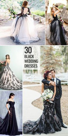 black wedding dresses and gowns collage