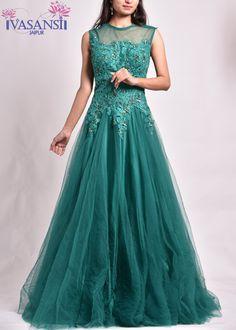 Vasansi Green Net Gown