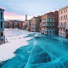 Frozen Grand Canal, Venice, Italy #venice