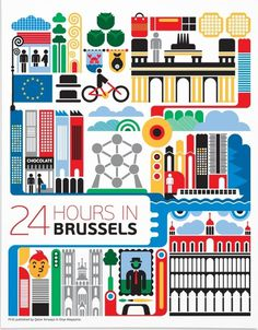 24 hours in brussels #illustration #brussels