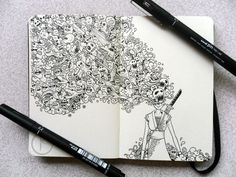 MOLESKINE DOODLES: Onna bugeisha by *kerbyrosanes on deviantART #doodle #ink #and #illustration #pen #moleskine