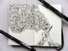 MOLESKINE DOODLES: Onna bugeisha by *kerbyrosanes on deviantART #illustration #doodle #moleskine #pen and ink