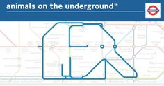 Animais no metro de Londres #underground #london #map #elephant #animals #fun