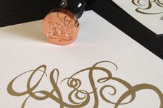 G & B Wedding Invites #design #type #wedding #monogram #invite #wax seal