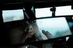 rear view, mirror, lipstick