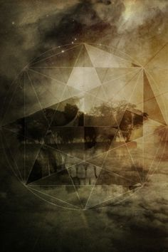 Tumblr #geometry #shapes #circles #depressing #bliss #pentagram #skull #collage #dark
