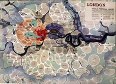 Map of London ... Social and Functional Analysis 1943 #london #blobs #map
