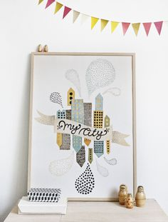 #nordic #design #graphic #illustration #danish #simple #nordicliving #living #interior #kids #room #poster #city #town #houses
