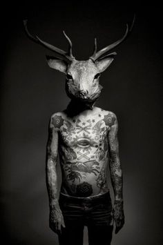 Full coverage tattoos. Deer head. #photography #black and white #deer #head #stag #antlers #tattoo #figure #body #chest #symbols #macabre