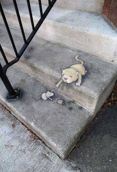 Sidewalk Chalk Drawings on the Streets of Ann Arbor by David Zinn