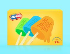 alcoholic popsicles! #popsicles #alcoholic #packaging #kick #illustration #pops #lol #typography
