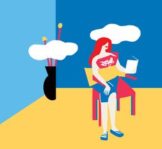 Reading #fitza #illustration #room #simple #minimal