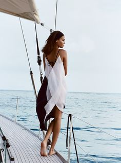 Smooth Sailing: Joan Smalls Rides the Wave in St. Barth's Magazine #water #demarchelier #sailing #photography #fashion #patrick