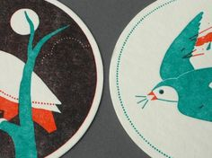 Letterpress Coasters by Ryan Todd | New Found Original #illustration #letterpress #animals