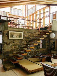 Nakashima house #interior #wood #stone #stairs #george nakashima