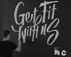 Nike Chalk Murals on Behance #lettering #b&w #chalk #ligatures #nike #type #typography