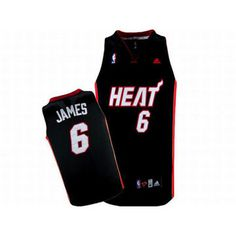 NBA Heat James #6 Adidas Black Jersey White Red Number