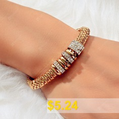 Fashion #Gold #Circle #with #Diamond #Elastic #Bracelet #1PC #- #GOLD